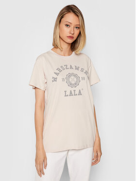 PLNY LALA PLNY LALA T-Shirt Warszawska Lala PL-KO-CL-00275 Beżowy Classic Fit