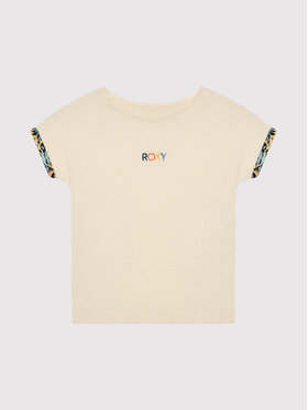 Roxy Roxy T-Shirt Marine Bloom ERGZT03782 Beżowy Relaxed Fit