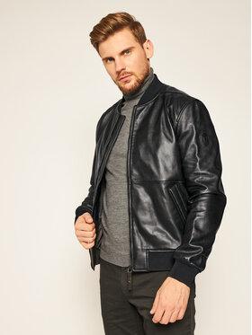 Trussardi Jeans Trussardi Jeans Veste en cuir 52S00479 Noir Regular Fit
