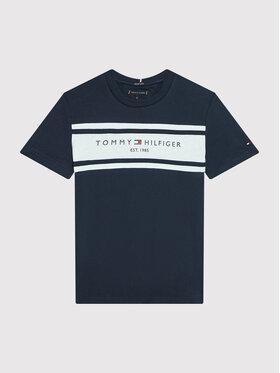 Tommy Hilfiger Tommy Hilfiger T-Shirt Essential Blocking KB0KB06711 D Granatowy Regular Fit