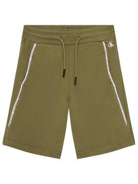 Calvin Klein Jeans Calvin Klein Jeans Sportske kratke hlače Logo Piping IB0IB00929 Zelena Regular Fit