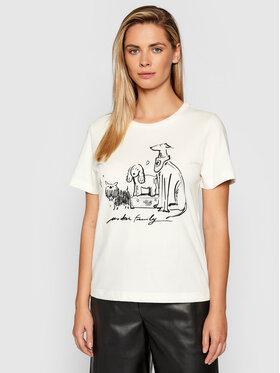 Trussardi Trussardi T-Shirt Print 56T00408 Beżowy Regular Fit