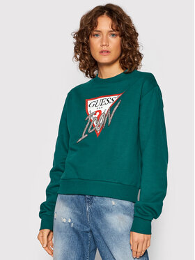 Guess Guess Džemperis Icon W1YQ0C K68I0 Žalia Regular Fit