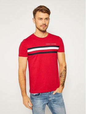 TOMMY HILFIGER TOMMY HILFIGER Tričko Global Stripe MW0MW14337 Červená Regular Fit