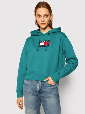 Tommy Jeans Tommy Jeans Felpa Tommy Flag DW0DW08975 Verde Regular Fit