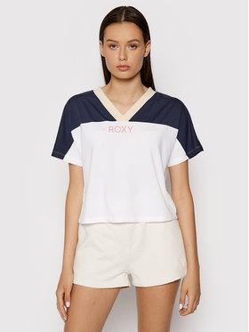 Roxy Roxy T-Shirt Trying Your Luck ERJZT05128 Biały Regular Fit