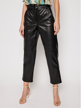 Marella Marella Кожени панталони Pergola 31310311200 Черен Regular Fit