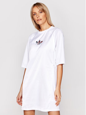 adidas adidas Ежедневна рокля Tee GN3115 Бял Regular Fit