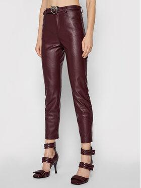Pinko Pinko Spodnie z imitacji skóry Susan 15 1G16WU 7105 Bordowy Skinny Fit