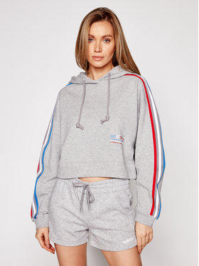 adidas adidas Bluza Tricolor Trefoil GN2855 Szary Loose Fit
