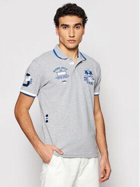 La Martina La Martina Тениска с яка и копчета RMP303 PK001 Сив Slim Fit