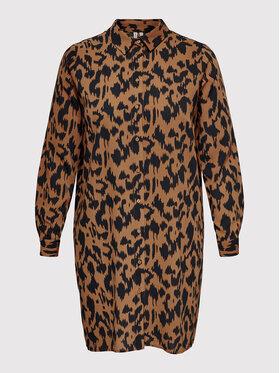 ONLY Carmakoma ONLY Carmakoma Marškinių tipo suknelė Carluxsilva 15244405 Ruda Regular Fit