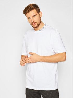 Calvin Klein Jeans Calvin Klein Jeans Tricou Collar Intarsia J30J316600 Alb Regular Fit