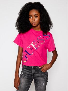 Guess Guess Marškinėliai Sybella Tee W0BI91 I3Z00 Rožinė Relaxed Fit