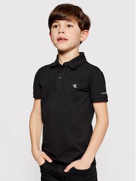 Calvin Klein Jeans Calvin Klein Jeans Тениска с яка и копчета Monogram Chest IB0IB00733 Черен Regular Fit