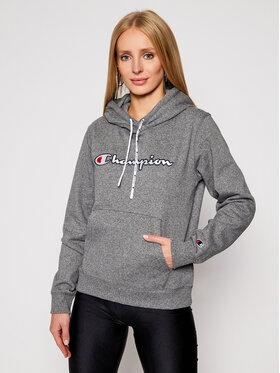 Champion Champion Pulóver Satin Stitch Script Logo Fleece Hoodie 113185 Szürke Regular Fit