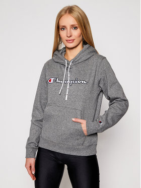 Champion Champion Sweatshirt Satin Stitch Script Logo Fleece Hoodie 113185 Grau Regular Fit