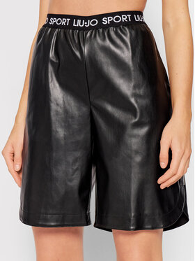 Liu Jo Sport Liu Jo Sport Kratke hlače od imitacije kože TF1054 E0641 Crna Regular Fit