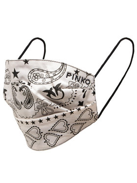 Pinko Pinko Mascherina di tessuto Zoologia Mask Popeline St.Bandana 20211 PRR 1N20D9 Y7RF Bianco