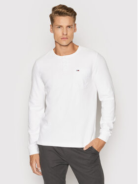 Tommy Jeans Tommy Jeans Суитшърт Waffle Pocket Henley DM0DM11062 Бял Regular Fit