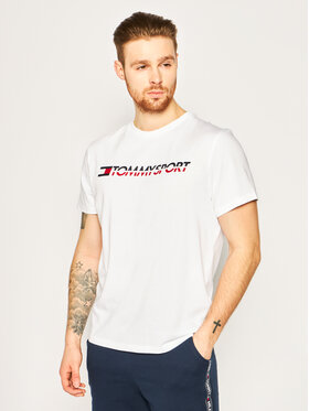 Tommy Sport Tommy Sport Tričko Logo Chest S20S200051 Biela Regular Fit