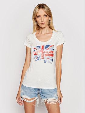 Pepe Jeans Pepe Jeans T-Shirt Blaze PL504819 Bílá Slim Fit