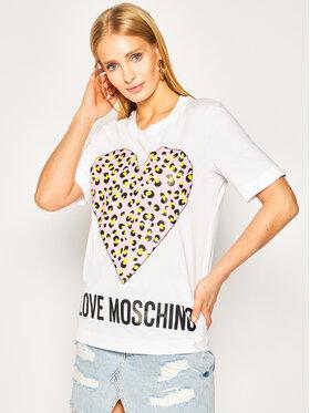 LOVE MOSCHINO LOVE MOSCHINO Тишърт W4F152DM 3876 Бял Regular Fit