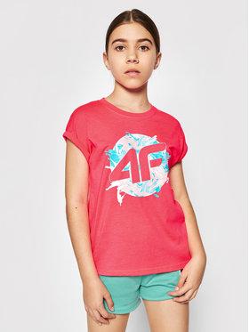 4F 4F T-Shirt JTSD012 Růžová Regular Fit