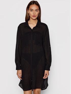 Seafolly Seafolly Плажна рокля Crinkle Twill Beach Shirt 53108-CU Черен Regular Fit