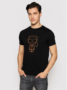 KARL LAGERFELD KARL LAGERFELD T-shirt Crewneck 755051 511224 Crna Regular Fit