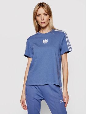 adidas adidas Marškinėliai adicolor 3D Trefoil GN2933 Mėlyna Loose Fit