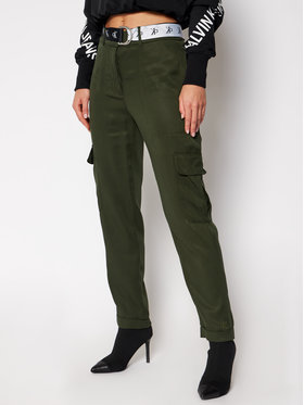 Calvin Klein Jeans Calvin Klein Jeans Medžiaginės kelnės J20J214906 Žalia Regular Fit