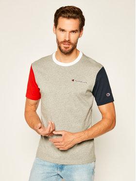 Champion Champion T-Shirt Contrast Block 214363 Szary Comfort Fit