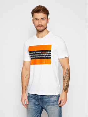 Calvin Klein Calvin Klein Тишърт Contrast Text Box Chest K10K106366 Бял Regular Fit