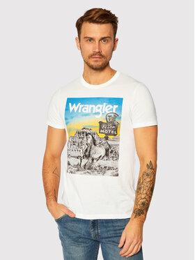 Wrangler Wrangler Тишърт Ss Photo Tee W7G4FK737 Бял Regular Fit