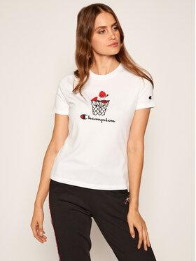 Champion Champion T-shirt Basketball Logo Digital Print 112965 Blanc Custom Fit