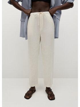 Mango Mango Pantaloni din material Linen 87047878 Alb Regular Fit