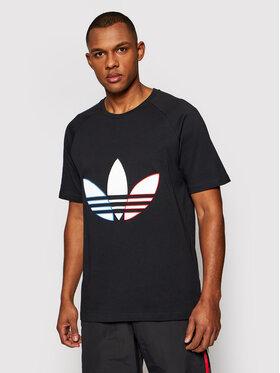 adidas adidas Marškinėliai adicolor Tricolor GQ8919 Juoda Regular Fit