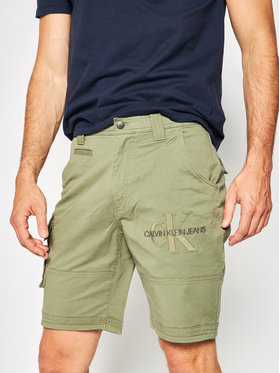 Calvin Klein Jeans Calvin Klein Jeans Šortky z materiálu J30J314905 Zelená Slim Leg