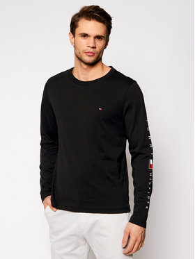 Tommy Hilfiger Tommy Hilfiger Тениска с дълъг ръкав Essential MW0MW17677 Черен Regular Fit