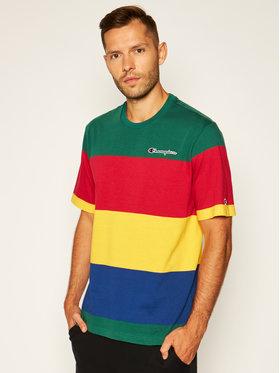 Champion Champion T-Shirt Colour Block Stripe 214352 Zielony Custom Fit