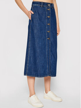 Lee Lee Džinsinis sijonas Button Through L38TNA36 Tamsiai mėlyna Regular Fit