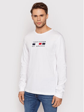 Tommy Hilfiger Tommy Hilfiger Manches longues Four Flags MW0MW20163 Blanc Regular Fit