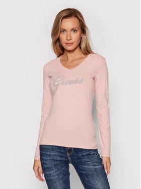 Guess Guess Μπλουζάκι Iradi W1BI01 J1311 Ροζ Slim Fit