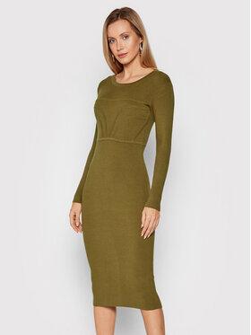 Fracomina Fracomina Плетена рокля F321WD5013K48201 Зелен Slim Fit