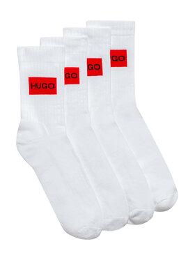 Hugo Hugo Комплект 2 чифта дълги чорапи мъжки 2P Qs Rib Label Cc 50437697 Бял