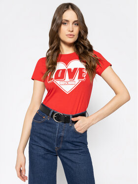 LOVE MOSCHINO LOVE MOSCHINO Póló W4F7357E 1698 Piros Regular Fit