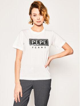 Pepe Jeans Pepe Jeans Marškinėliai Charis PL504443 Balta Regular Fit