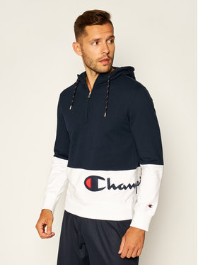 Champion Champion Mikina Half Zip-Up Colour Block Wraparound Logo Hoodie 214205 Tmavomodrá Comfort Fit