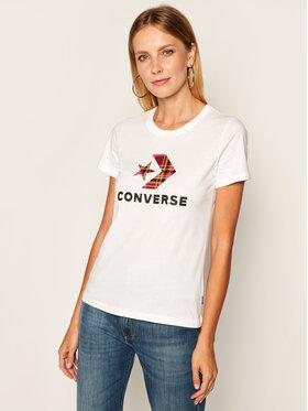 Converse Converse Póló Star Chevron Plaid Infill 10020874-A01 Fehér Regular Fit